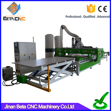 High speed nesting cnc cutting machine price carving router with loading system for wooden cabinets