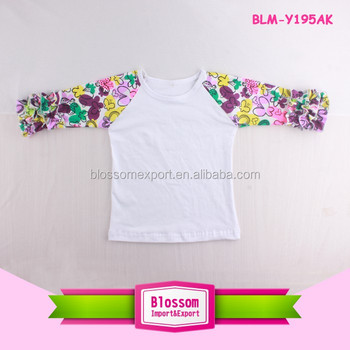 Casual O Neck 3/4 Sleeve Floral Raglan T-shirt Tee Tops Ruffle Raglans for Girls And Women