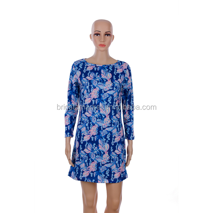 Wholesale Fashion Printed Long Sleeve Dress With Lilly Pattern