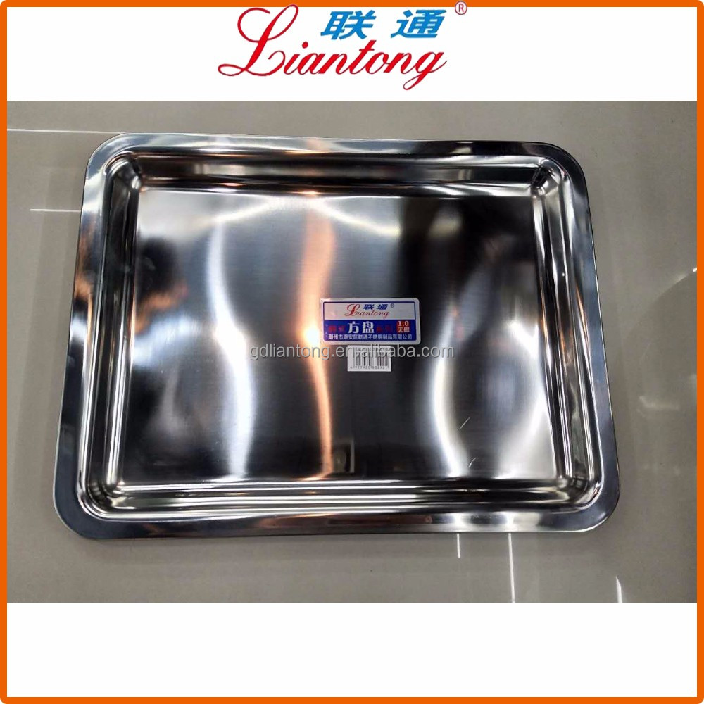 60x40cm 0.8mm thickness plate manufacturer mirror polished SS304 stainless steel serving tray