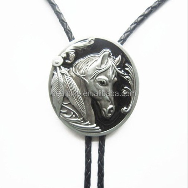 Antique Silver Bolo Tie For Shirt, Custom Bolo Tie Badge With Horse Head