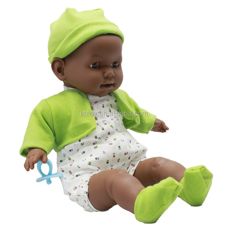 Black Collection Boy Baby Doll,Cheap Baby Doll with Green Clothes W41520D