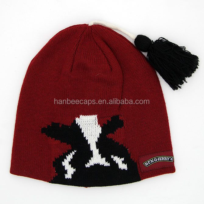 high qualityjacquard knitted winter beanie hat with tassel