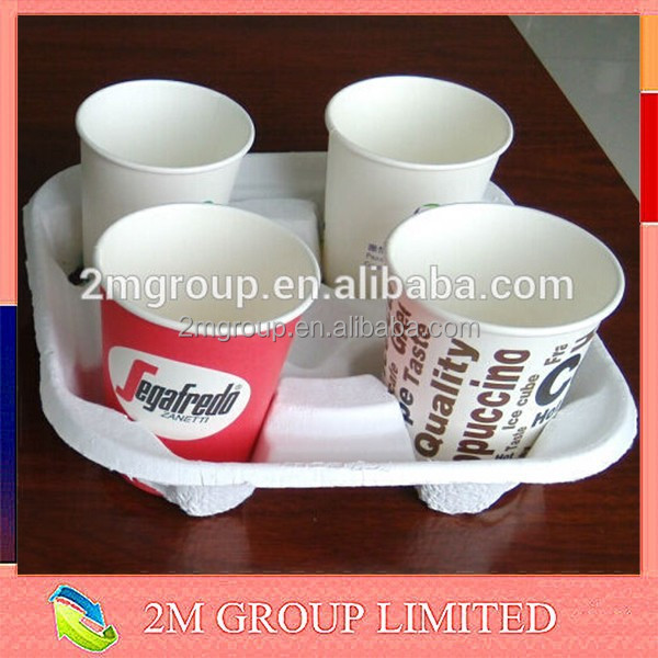 Disposable coffee pulp paper cup holder tray for 2 or 4 cup