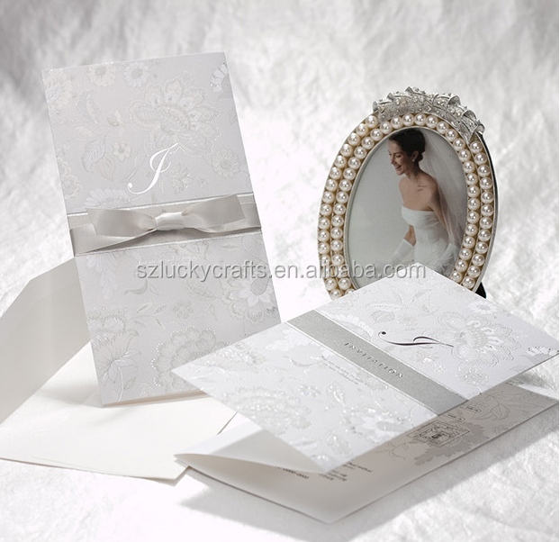 2016 Hot Unique Royal White Flower Hollow Factory Supplies laser cut Lace wedding invitation card birthday card greeting card