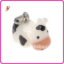 Hand Painted 3-D Black And White Cow Charm 14.6mm Lightweight