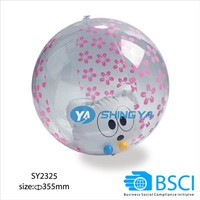 kid toy, promotion gift , PVC inflatable beach ball with animal toy inside