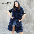 CX-G-B-228F Navy Blue Latest Genuine Real Women Fox Fur Vest