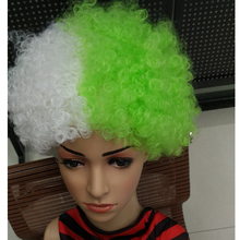 wholesale half and half color kinky curl popular colorful football fan wig