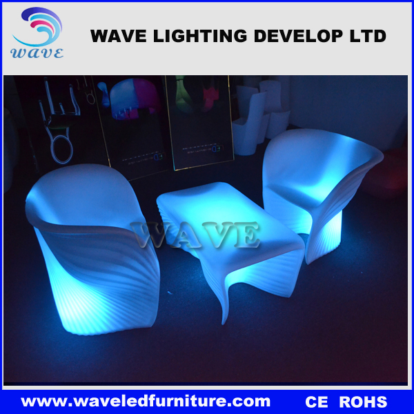 Protable plastic led light up outdoor furniture bar chair led table and chair set/plastic folding table and chair