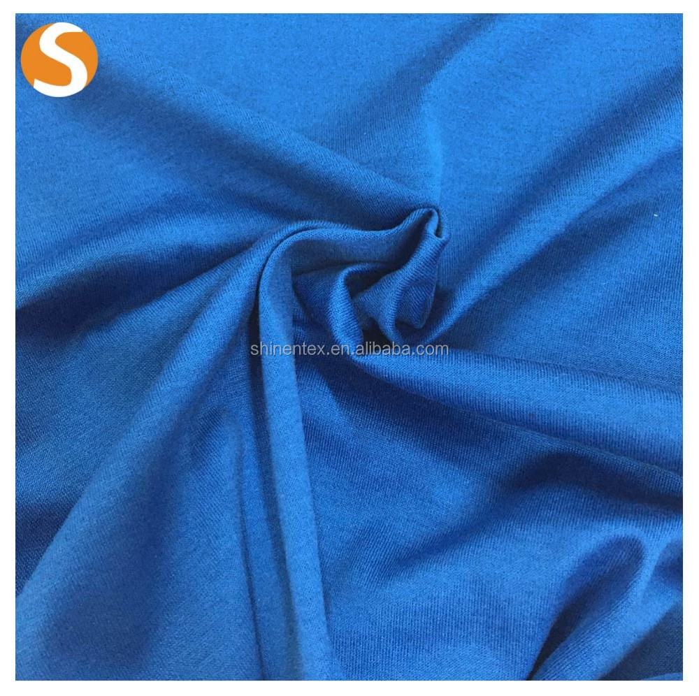 2016 Hot sale stretched blue 100% cotton plain dyed knitting fabric