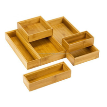 Hot sale stackable bamboo drawer organizers