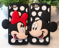 Cute Cartoon 3D Minnie Mickey Soft Silicon Case For Iphone 5 5S 6 6S 6Plus 6S Plus