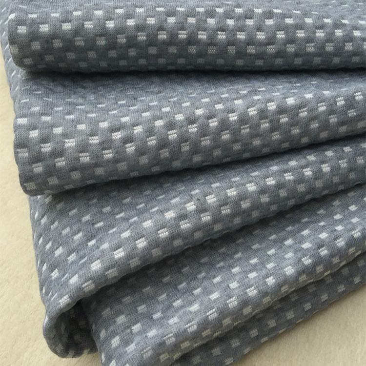 Sofa Fabric Weft Knitted Plain Dyed Double Quilted Air Layer white dots Fabric 220gsm