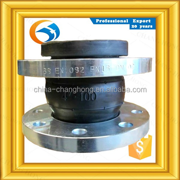 manufacturer anti corrosion dn125 flanged elastic rubber expansion joint single sphere with flange