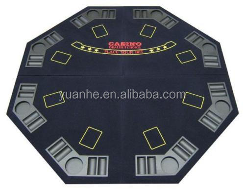 4 Foldable Octagonal Poker/Blackjack Table Top Black