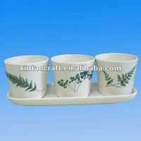 Decal Ceramic Garden Flower Planter Pot 3 Sets with Saucer