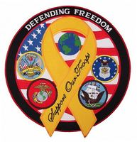 Custom iron on laser cut USA American defending freedom embroidered patch