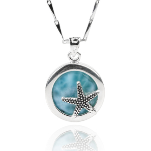 925 sterling silver jewelry wholesale blue larimar gemstone natural larimar starfish pendant charms for women necklace