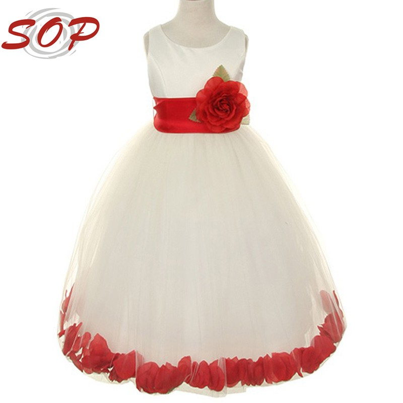 Classic Best Selling Pick Your Sash Petals Flower Girl Net Dress