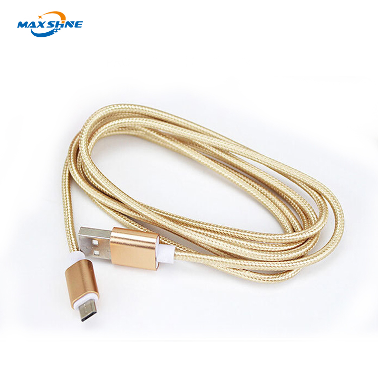 Max Shine Mobile Phone Accessories Braided Nylon Aluminum Fastest 1M Usb Type C Cable , Ultra Thin Micro Usb Cable for iPhone