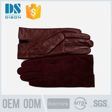 fashion top quality claret leather gloves cut finger in europe
