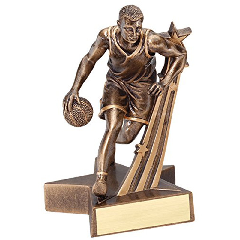 Male Basketball Gold Star Resin Trophy Award