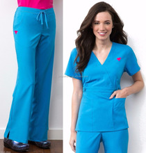 High Quality Hospital Scrub top and pant, Solid Color Nurse Medical Scrub