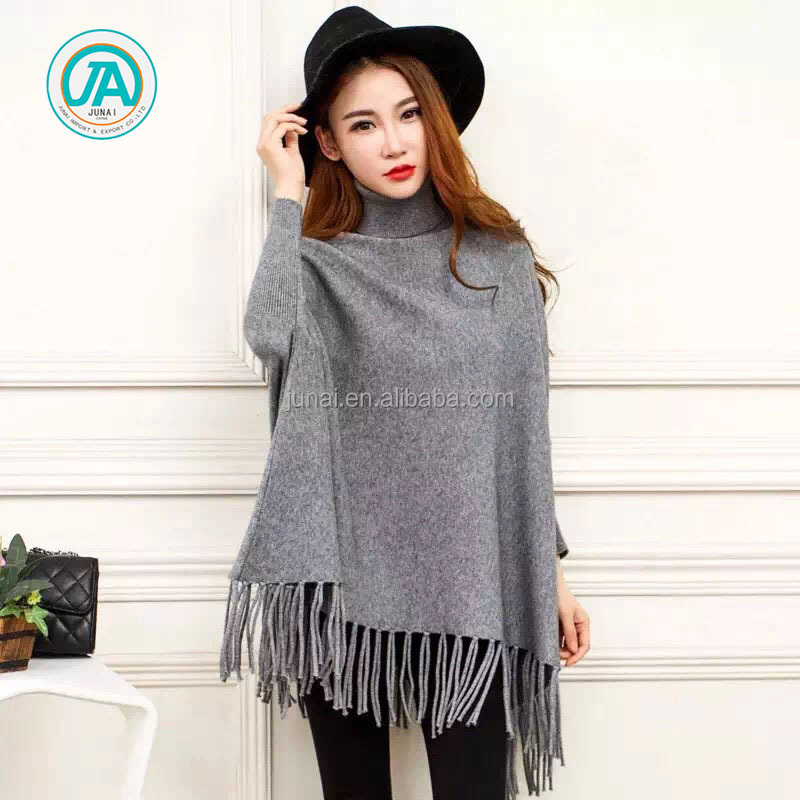 Ladies winter fringe wool cashmere plain knitted shawls and wraps