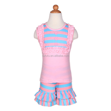 2014 summer child clothing! fashion lovely factory direct clothing sleeveless stripe floral two layers lace outfit