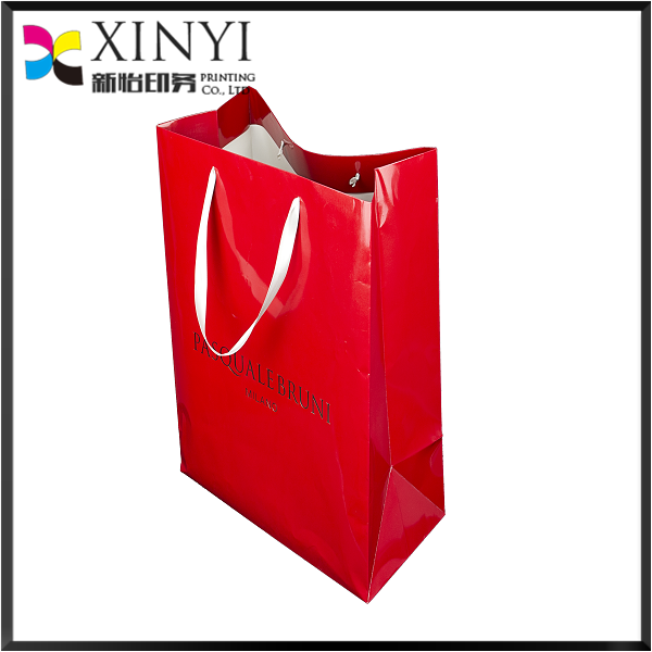 Clothing Shopping Bags,Personalized Grocery Paper Bag With Ribbon Handle
