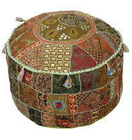 Buy Exclusive Indian Vintage Embroidery Stool, Mirror Patch work Ottoman Pouf