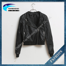 casual longsleeve women biker leather jacket fashion femal zipper leather jacket