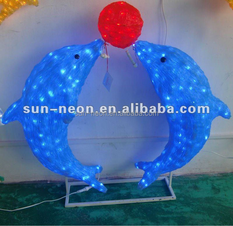 Two Dolphin Outdoor Christmas Light Animals / Christmas led acrylic animals