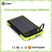 Solar Portable waterproof power bank 8000mAh solar charger with flashlight for mobile phone