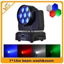 China Factory Pro Dj Equipment 7*15W RGBW 4 in1 Led Beam &Wash &Zoom Moving Head Light