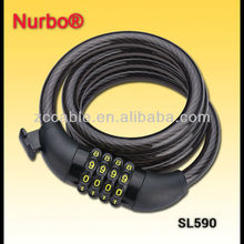 SL590 Nurbo 4 codes spiral combination bike/ebike locks with holder 4 Digits re-setable combination lock