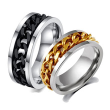 Hot Sale Custom 18K Gold Plated Stainless Steel Fashion Chain Ring