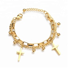 Fashion Double Layer Stainless Steel Bracelet For Women and Man Cross Gold Plated Jewelry Luck Bracelets&bangles Wholesale
