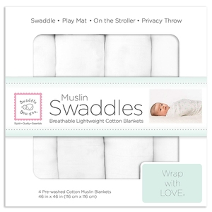 Wholesale 4 Pack White Plain Solid Color Extra Soft Breathable Organic Cotton Muslin Squares Baby Cute Swaddle Blankets