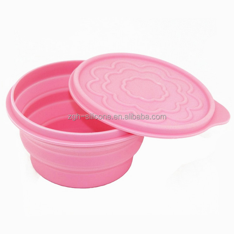 Resuable silicone folding bowl rubber storage bowl for fruits
