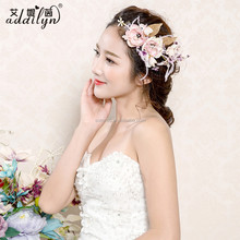 Wholesale beautiful unique feather hair accessories gold leaf flower bridal headpiece with hair clips for hair
