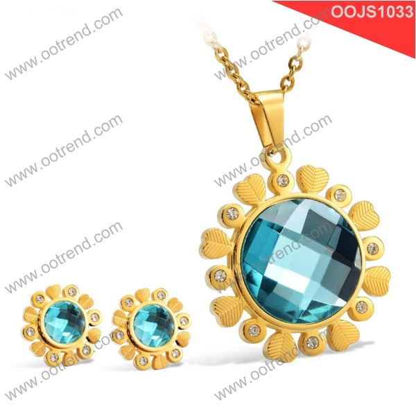 oofashion Costume Sunflower primier jewelry set made of stainless steel 18K gold plated