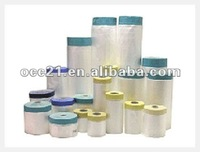 plastic HDPE pre-taped masking film(cloth tape)