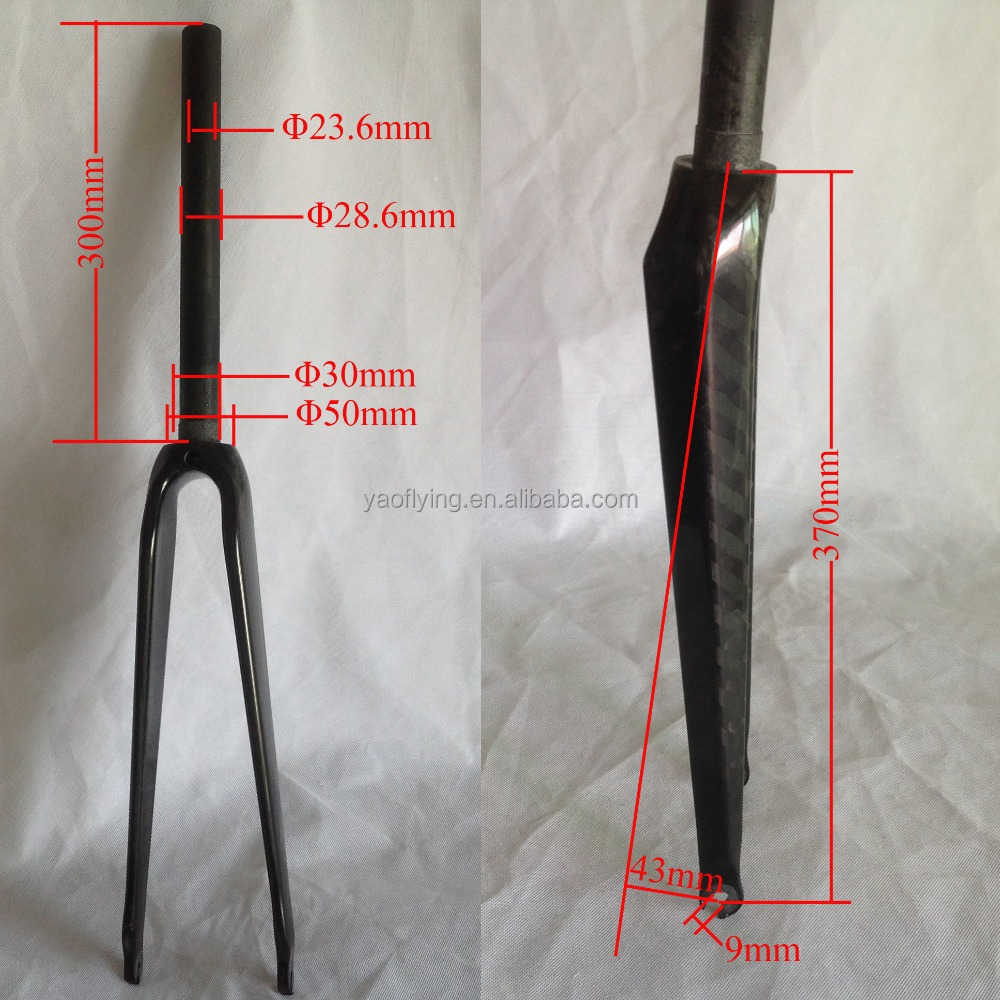 Factory directly selling cheap fixed gear carbon fork,700C V brake sterred carbon road bike fork