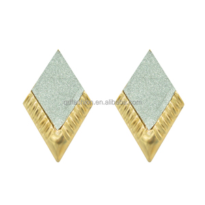 Nice newest design rhombus stud indian gold plated fashion earrings