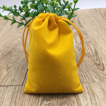 Yellow Mini Velvet Bag, Velour Bag Packaging Jewelry Necklaces Earrings