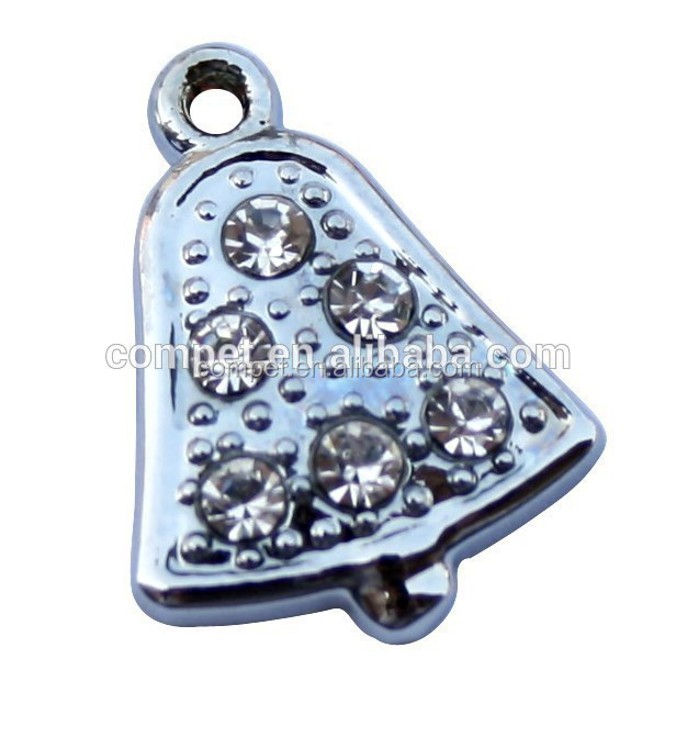 Shinning Crystal Rhinestone Christmas Bell Shaped Pendant Charms Made in China