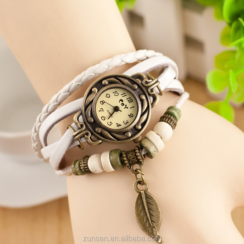 Fashion 10 Colors Genuine Leather Strap Vintage Brand Watch Bracelet Women&Lady's Wrist Leather Watch
