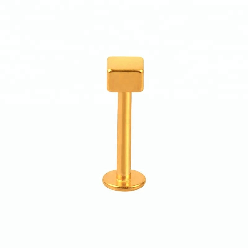 Anodized gold square screw labret stud lip piercing